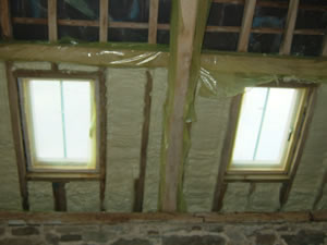Contract applied machine class 1 spray foam to underside barn project