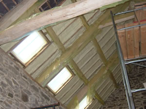 Contract applied machine class 1 spray foam to underside barn project